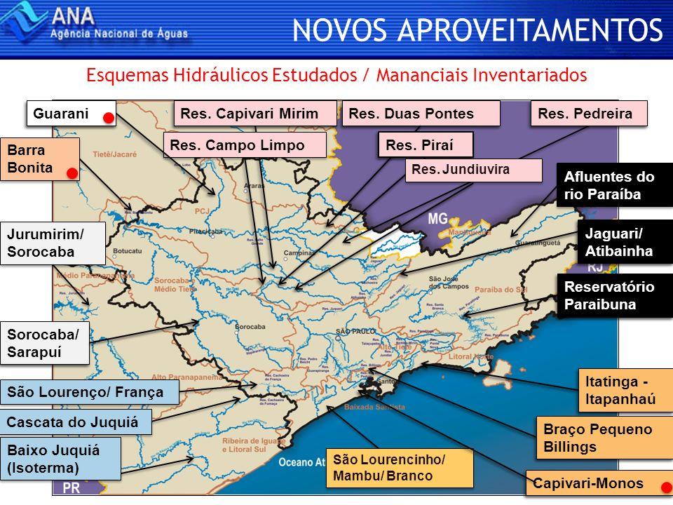 NOVOS APROVEITAMENTOS São Lourencinho/ Mambu/ Branco São Lourenço/ França Cascata do Juquiá Baixo Juquiá (Isoterma) Barra Bonita Esquemas Hidráulicos