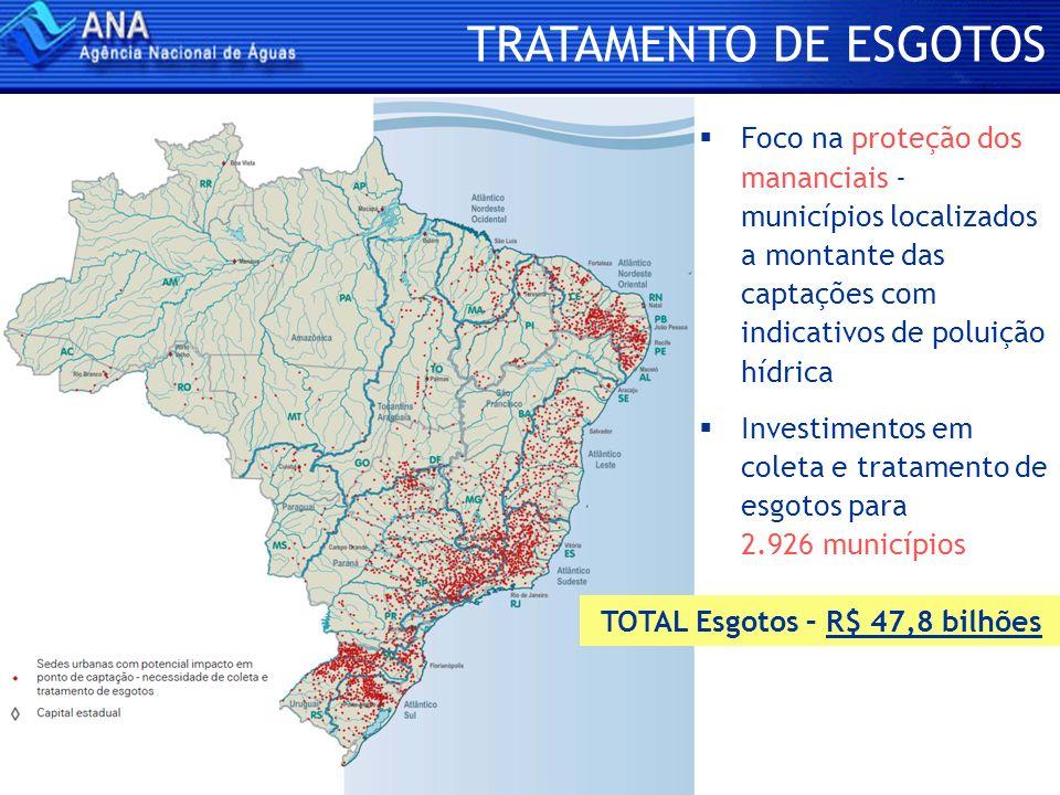 Foco na proteção dos mananciais - municípios localizados a montante das captações com indicativos de poluição hídrica Investimentos em coleta e tratam