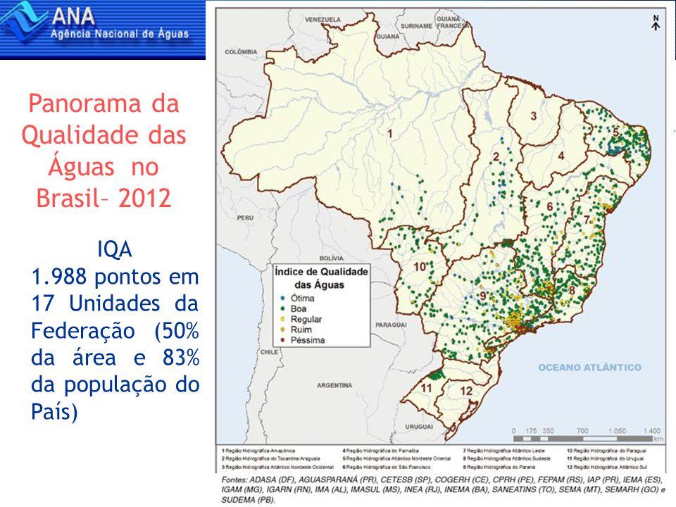 4 Índice de Qualidade das Águas - 2010 Brasil Áreas Urbanas Brasil: 1.988 pontos em áreas urbanas e rurais de 17 Unidades da Federação Áreas urbanas: 135 pontos em 35 cidades de 11 Unidades da Federação QUALIDADE DAS ÁGUAS Fonte: Panorama da Qualidade das Águas Superficiais do Brasil (ANA/BID, 2012)