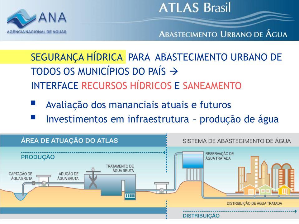 Foco na proteção dos mananciais - municípios localizados a montante das captações com indicativos de poluição hídrica Investimentos em coleta e tratamento de esgotos para 2.926 municípios TOTAL Esgotos – R$ 47,8 bilhões TRATAMENTO DE ESGOTOS
