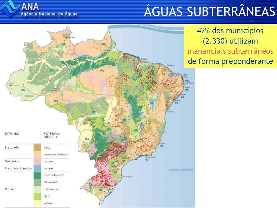 ÁGUAS SUBTERRÂNEAS 42% dos municípios (2.330) utilizam mananciais subterrâneos de forma preponderante