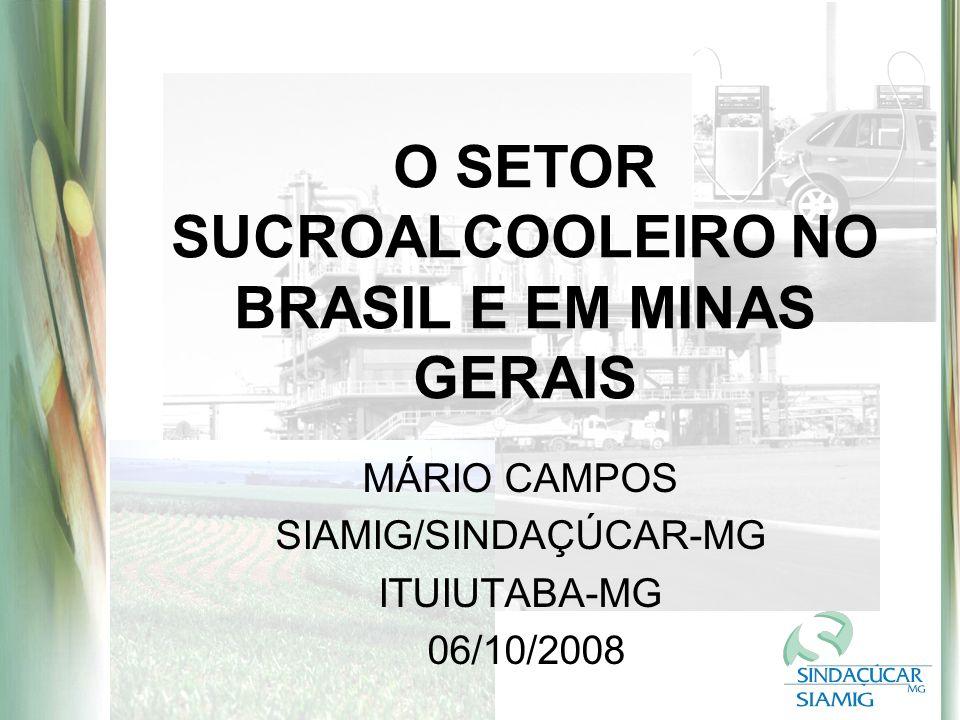 O SETOR SUCROALCOOLEIRO NO BRASIL E EM MINAS GERAIS MÁRIO CAMPOS SIAMIG/SINDAÇÚCAR-MG ITUIUTABA-MG 06/10/2008