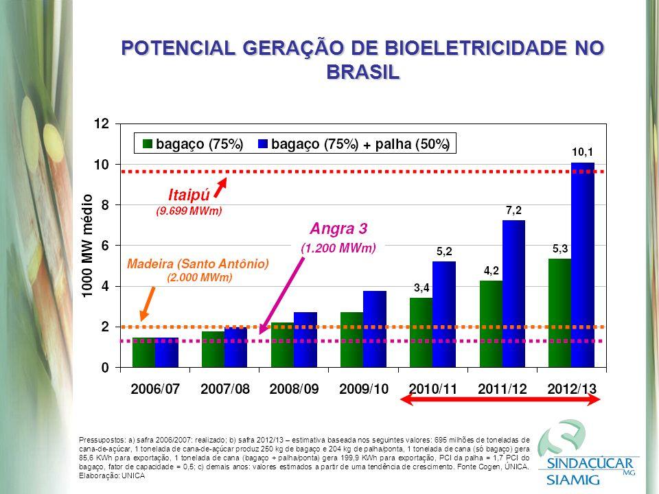 POTENCIAL GERAÇÃO DE BIOELETRICIDADE NO BRASIL Pressupostos: a) safra 2006/2007: realizado; b) safra 2012/13 – estimativa baseada nos seguintes valores: 695 milhões de toneladas de cana-de-açúcar, 1 tonelada de cana-de-açúcar produz 250 kg de bagaço e 204 kg de palha/ponta, 1 tonelada de cana (só bagaço) gera 85,6 KWh para exportação, 1 tonelada de cana (bagaço + palha/ponta) gera 199,9 KWh para exportação, PCI da palha = 1,7 PCI do bagaço, fator de capacidade = 0,5; c) demais anos: valores estimados a partir de uma tendência de crescimento.