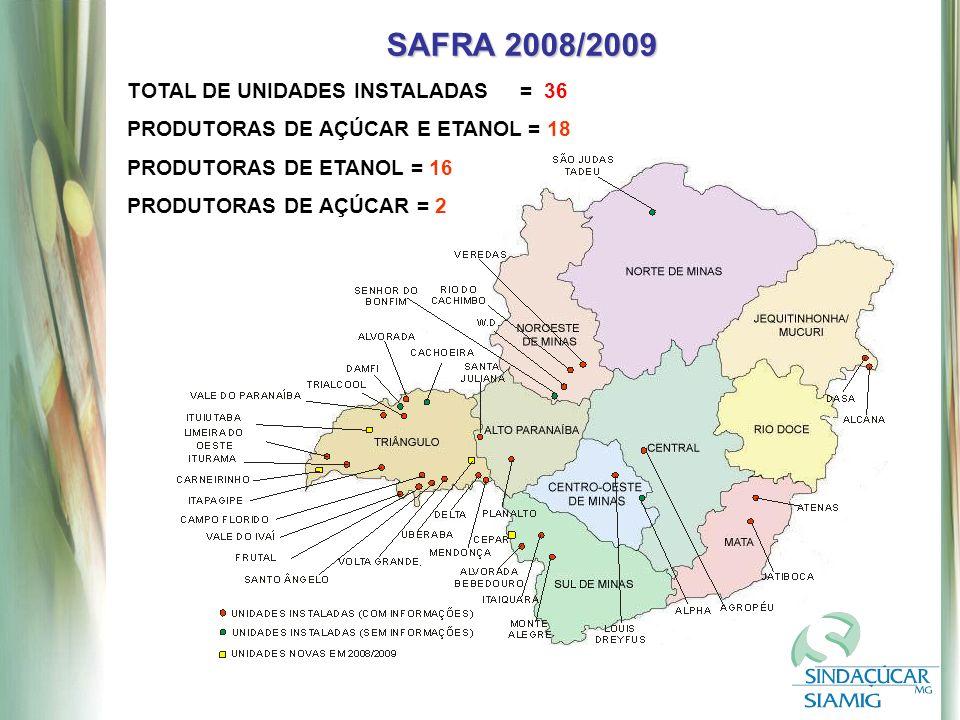 SAFRA 2008/2009 TOTAL DE UNIDADES INSTALADAS = 36 PRODUTORAS DE AÇÚCAR E ETANOL = 18 PRODUTORAS DE ETANOL = 16 PRODUTORAS DE AÇÚCAR = 2