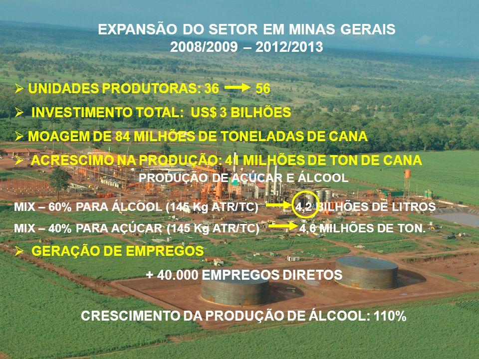 UNIDADES PRODUTORAS: 36 56 INVESTIMENTO TOTAL: US$ 3 BILHÕES MOAGEM DE 84 MILHÕES DE TONELADAS DE CANA ACRESCIMO NA PRODUÇÃO: 41 MILHÕES DE TON DE CANA MIX – 60% PARA ÁLCOOL (145 Kg ATR/TC) 4,2 BILHÕES DE LITROS MIX – 40% PARA AÇÚCAR (145 Kg ATR/TC) 4,6 MILHÕES DE TON.