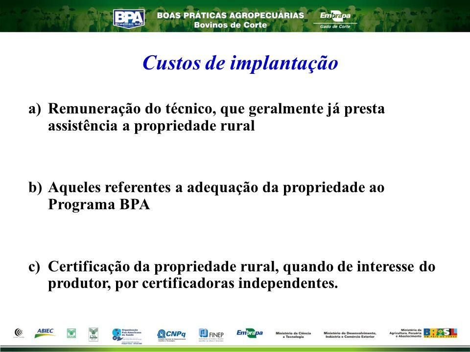 a)Remuneração do técnico, que geralmente já presta assistência a propriedade rural b)Aqueles referentes a adequação da propriedade ao Programa BPA c)C