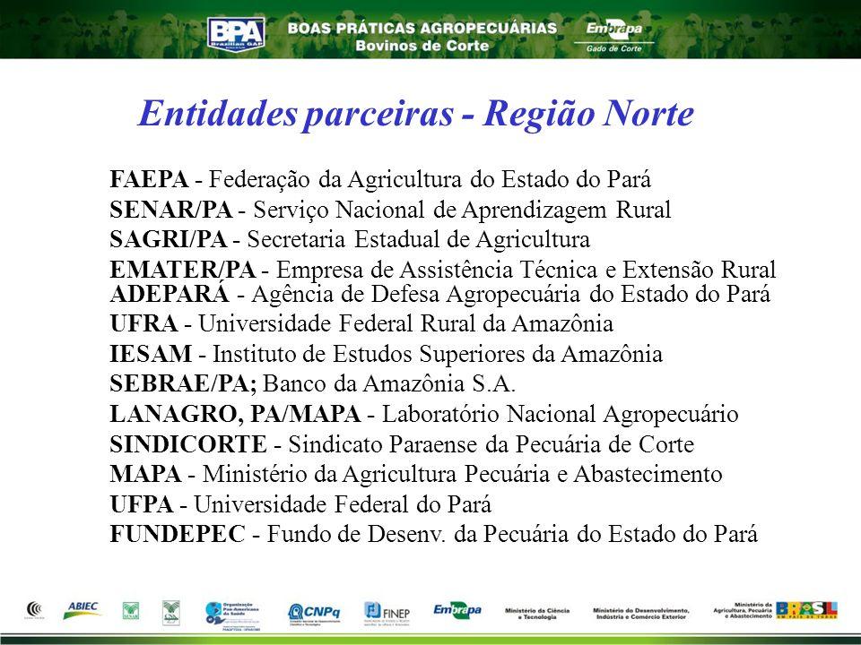 Entidades parceiras - Região Norte FAEPA - Federação da Agricultura do Estado do Pará SENAR/PA - Serviço Nacional de Aprendizagem Rural SAGRI/PA - Sec