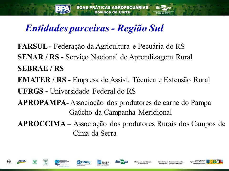 Entidades parceiras - Região Sul FARSUL - Federação da Agricultura e Pecuária do RS SENAR / RS - Serviço Nacional de Aprendizagem Rural SEBRAE / RS EM