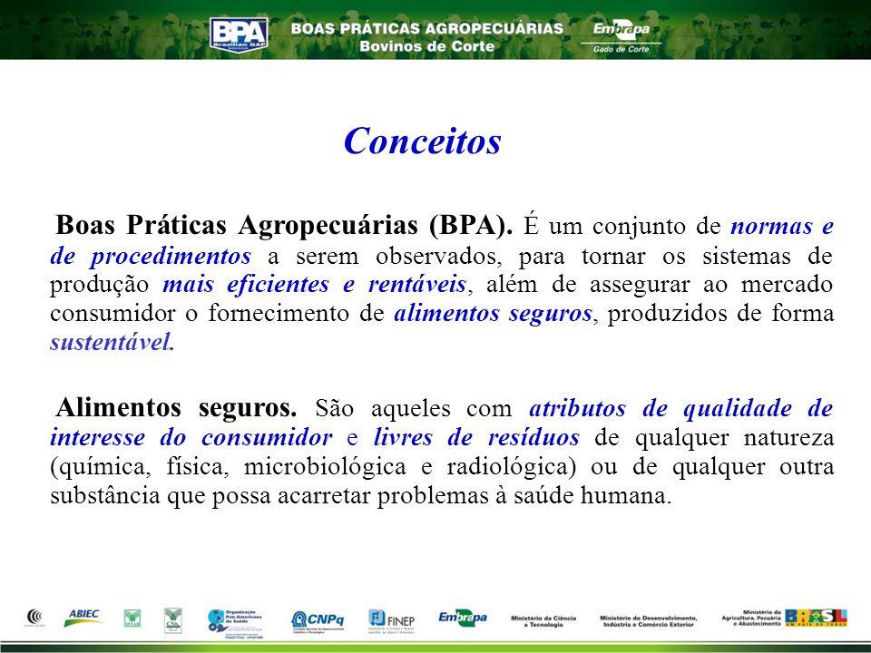 Boas Práticas Agropecuárias (BPA). É um conjunto de normas e de procedimentos a serem observados, para tornar os sistemas de produção mais eficientes