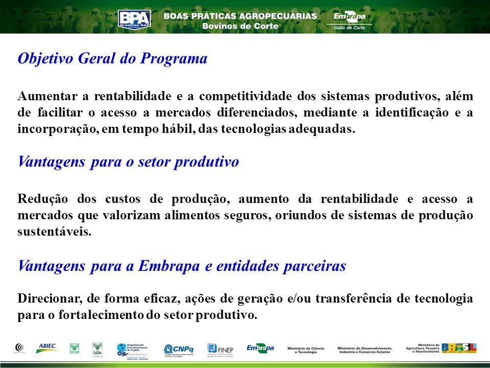 Objetivo Geral do Programa Aumentar a rentabilidade e a competitividade dos sistemas produtivos, além de facilitar o acesso a mercados diferenciados,