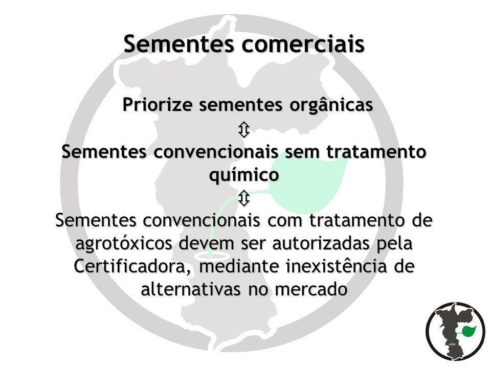 Sementes comerciais Priorize sementes orgânicas Priorize sementes orgânicas Sementes convencionais sem tratamento químico Sementes convencionais com t