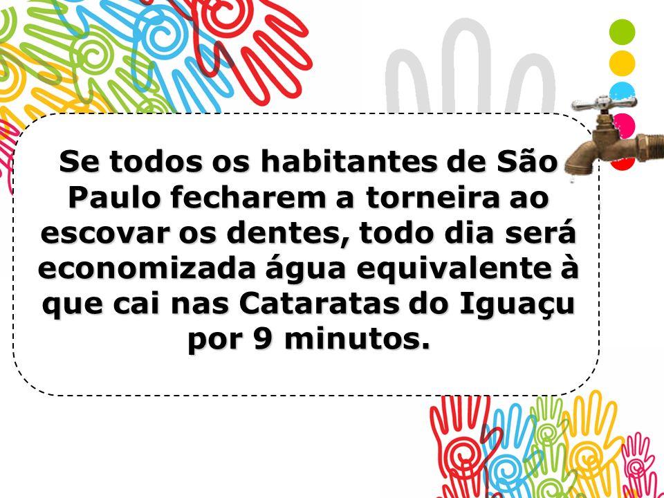 Se todos os habitantes de São Paulo fecharem a torneira ao escovar os dentes, todo dia será economizada água equivalente à que cai nas Cataratas do Ig