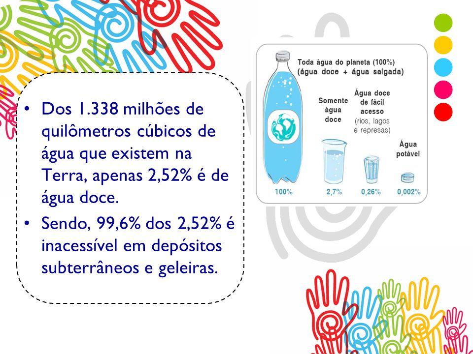 Dos 1.338 milhões de quilômetros cúbicos de água que existem na Terra, apenas 2,52% é de água doce. Sendo, 99,6% dos 2,52% é inacessível em depósitos