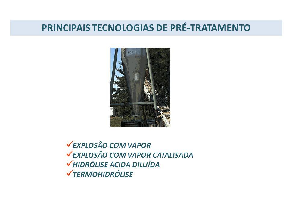 PRINCIPAIS TECNOLOGIAS DE PRÉ-TRATAMENTO EXPLOSÃO COM VAPOR EXPLOSÃO COM VAPOR CATALISADA HIDRÓLISE ÁCIDA DILUÍDA TERMOHIDRÓLISE