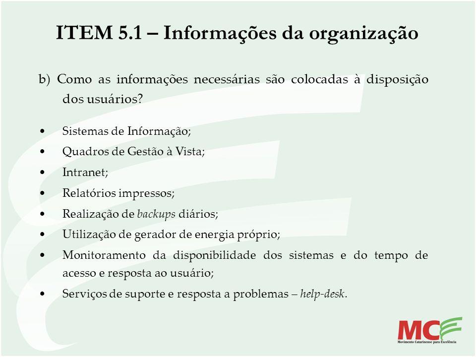 b) Como as informações necessárias são colocadas à disposição dos usuários? Sistemas de Informação; Quadros de Gestão à Vista; Intranet; Relatórios im