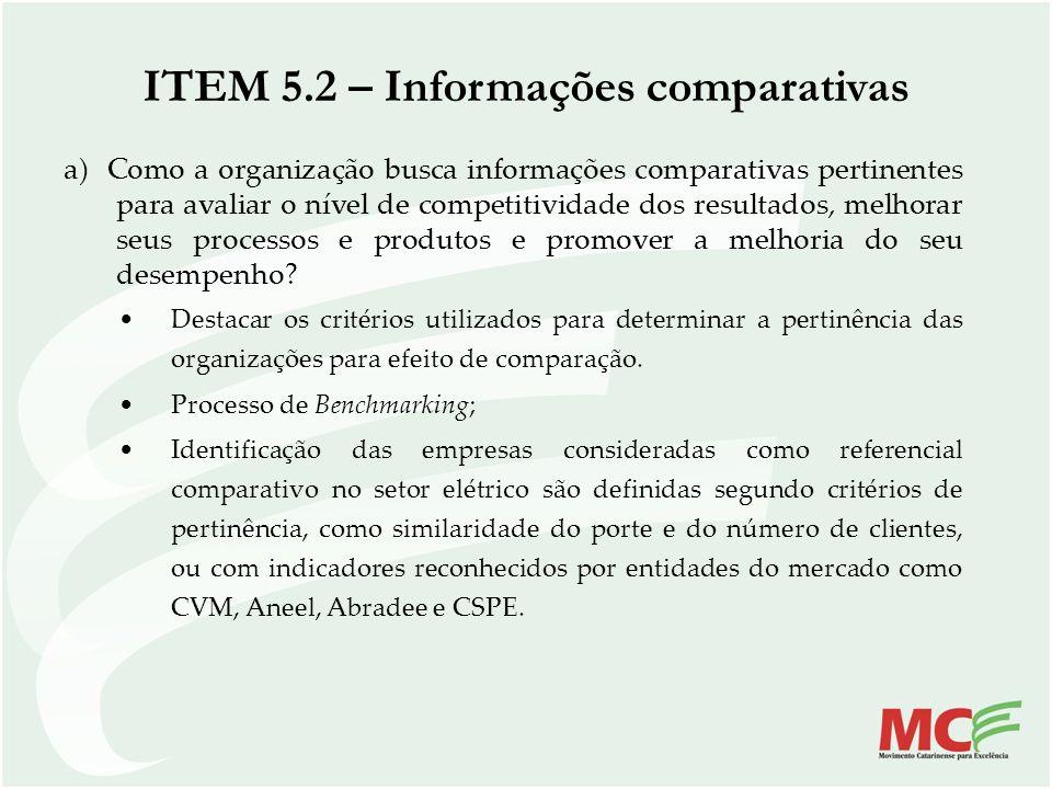 ITEM 5.2 – Informações comparativas a) Como a organização busca informações comparativas pertinentes para avaliar o nível de competitividade dos resul