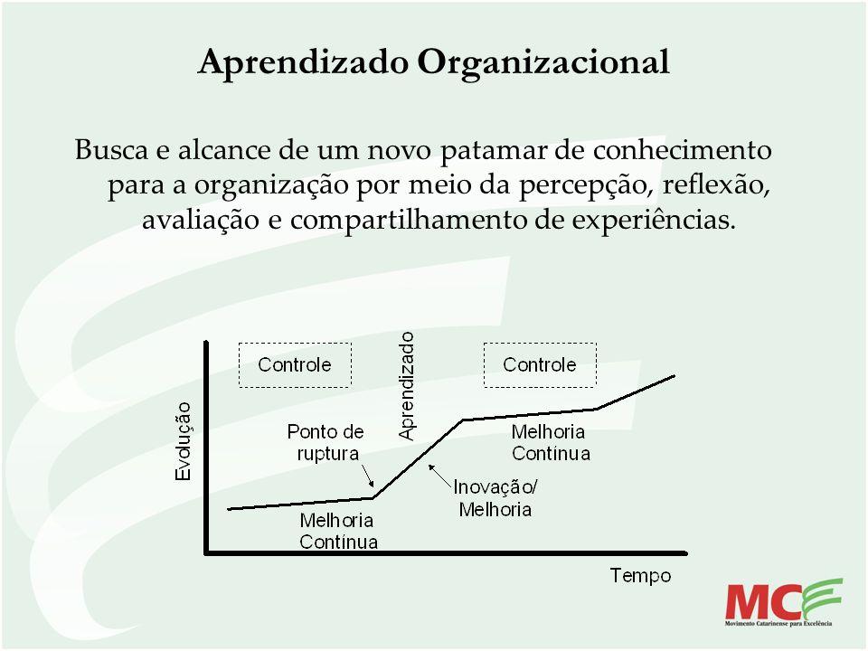 Aprendizado Organizacional Busca e alcance de um novo patamar de conhecimento para a organização por meio da percepção, reflexão, avaliação e comparti