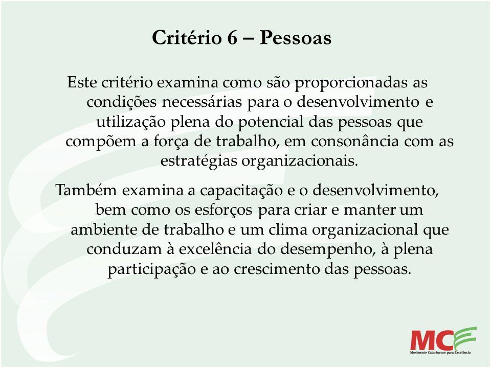 Critério 6 – Pessoas Este critério examina como são proporcionadas as condições necessárias para o desenvolvimento e utilização plena do potencial das
