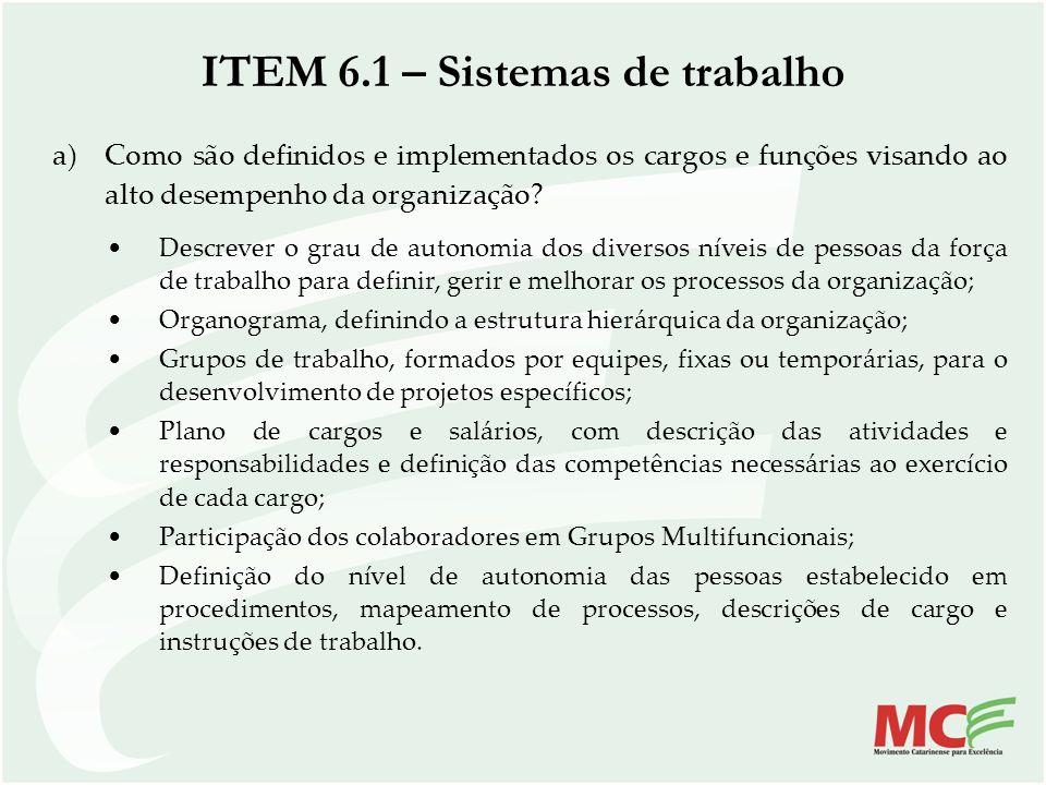 ITEM 6.1 – Sistemas de trabalho a)Como são definidos e implementados os cargos e funções visando ao alto desempenho da organização? Descrever o grau d