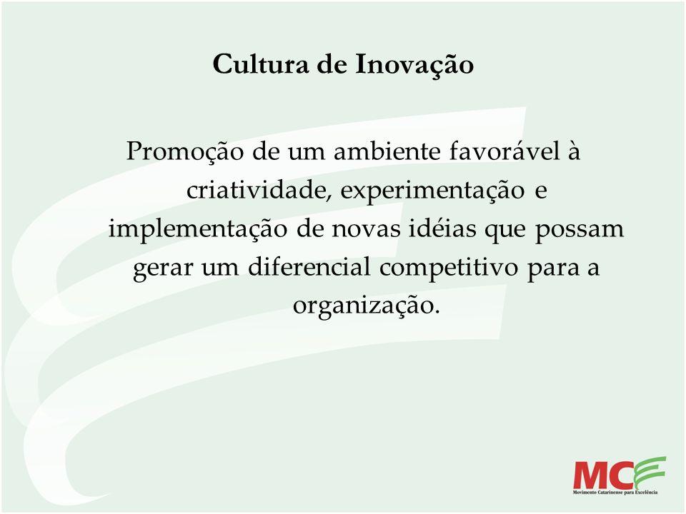 Cultura de Inovação Promoção de um ambiente favorável à criatividade, experimentação e implementação de novas idéias que possam gerar um diferencial c