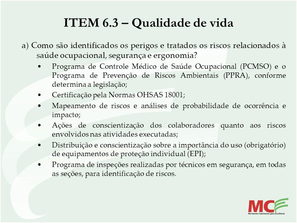 ITEM 6.3 – Qualidade de vida a) Como são identificados os perigos e tratados os riscos relacionados à saúde ocupacional, segurança e ergonomia? Progra