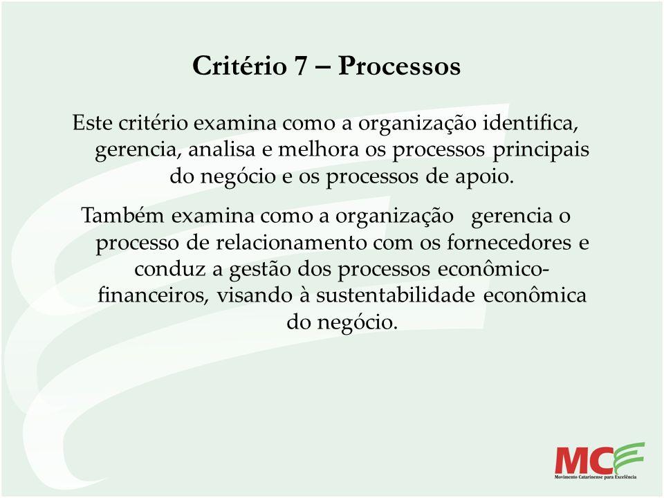 Critério 7 – Processos Este critério examina como a organização identifica, gerencia, analisa e melhora os processos principais do negócio e os proces