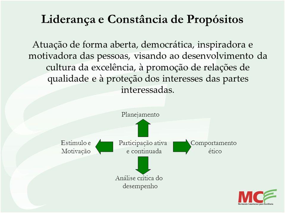 Liderança e Constância de Propósitos Atuação de forma aberta, democrática, inspiradora e motivadora das pessoas, visando ao desenvolvimento da cultura