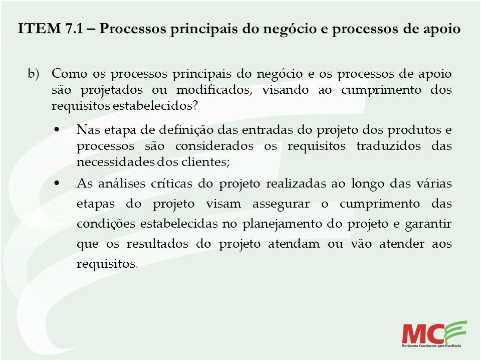 b)Como os processos principais do negócio e os processos de apoio são projetados ou modificados, visando ao cumprimento dos requisitos estabelecidos?