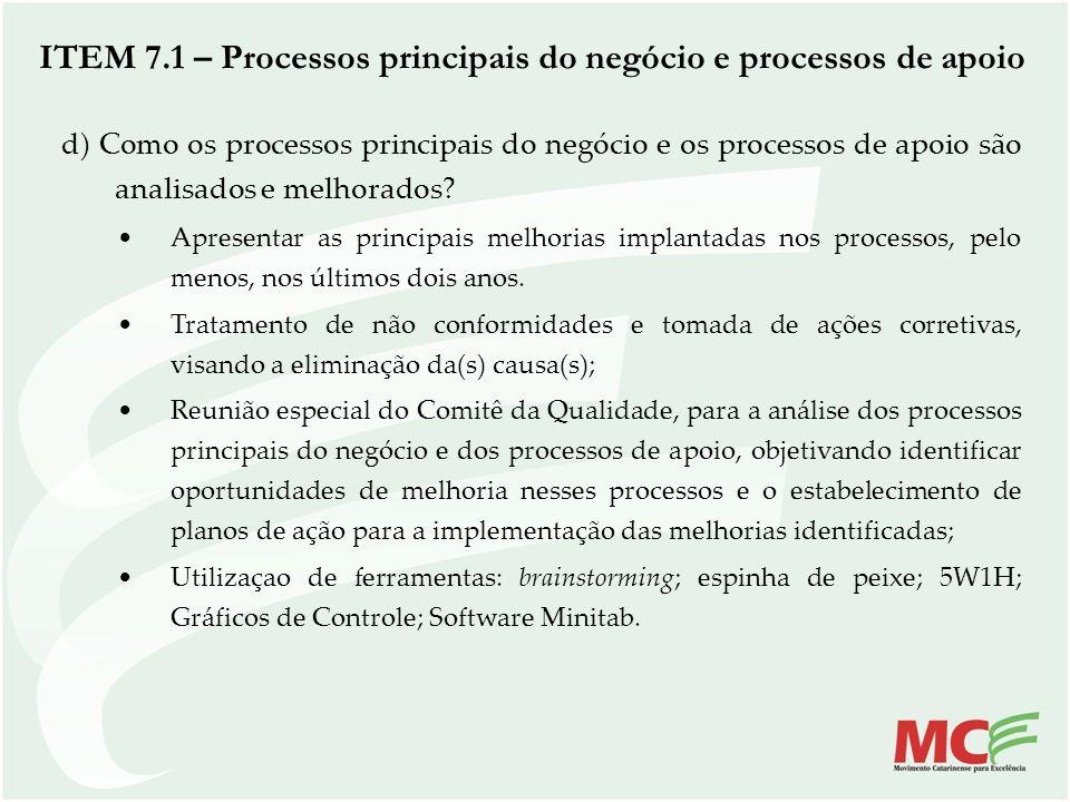 d) Como os processos principais do negócio e os processos de apoio são analisados e melhorados? Apresentar as principais melhorias implantadas nos pro