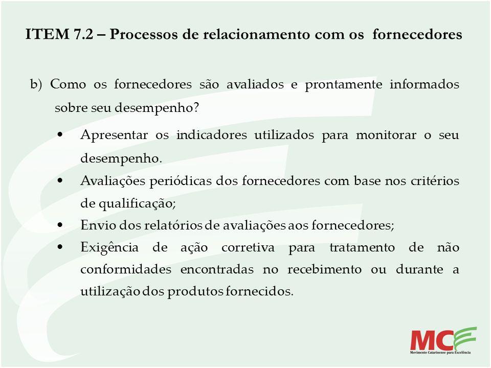 b) Como os fornecedores são avaliados e prontamente informados sobre seu desempenho? Apresentar os indicadores utilizados para monitorar o seu desempe
