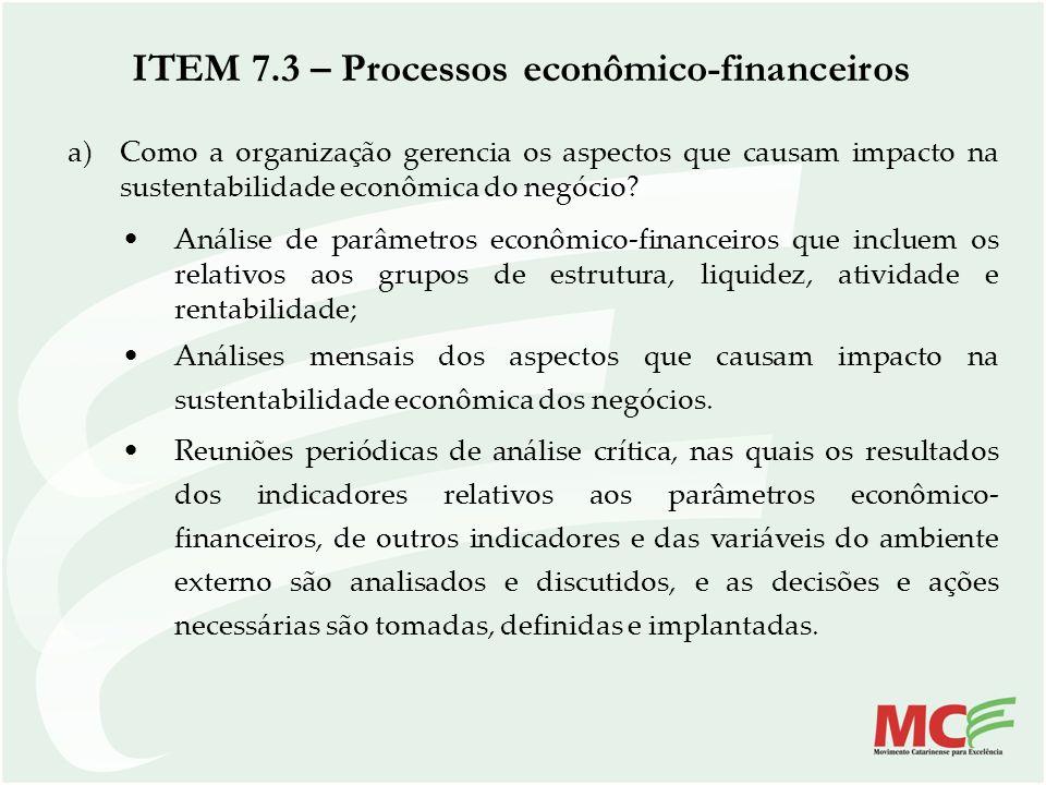 ITEM 7.3 – Processos econômico-financeiros a)Como a organização gerencia os aspectos que causam impacto na sustentabilidade econômica do negócio? Anál