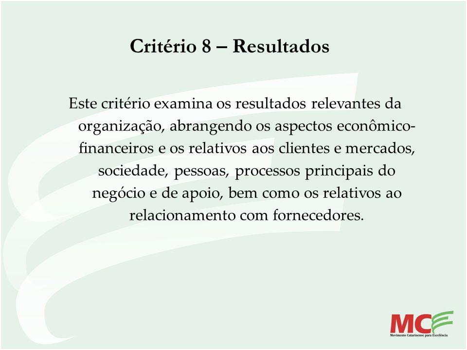 Critério 8 – Resultados Este critério examina os resultados relevantes da organização, abrangendo os aspectos econômico- financeiros e os relativos ao