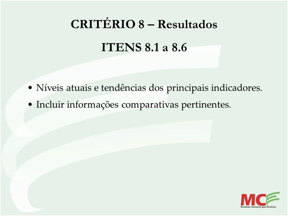 Níveis atuais e tendências dos principais indicadores. Incluir informações comparativas pertinentes. CRITÉRIO 8 – Resultados ITENS 8.1 a 8.6