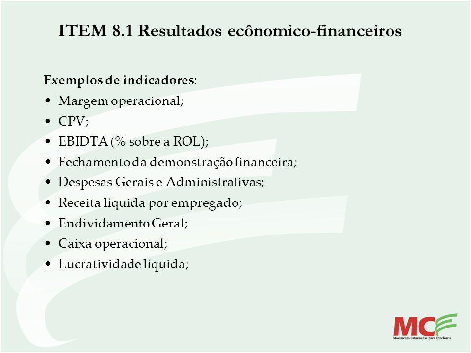ITEM 8.1 Resultados ecônomico-financeiros Exemplos de indicadores: Margem operacional; CPV; EBIDTA (% sobre a ROL); Fechamento da demonstração finance