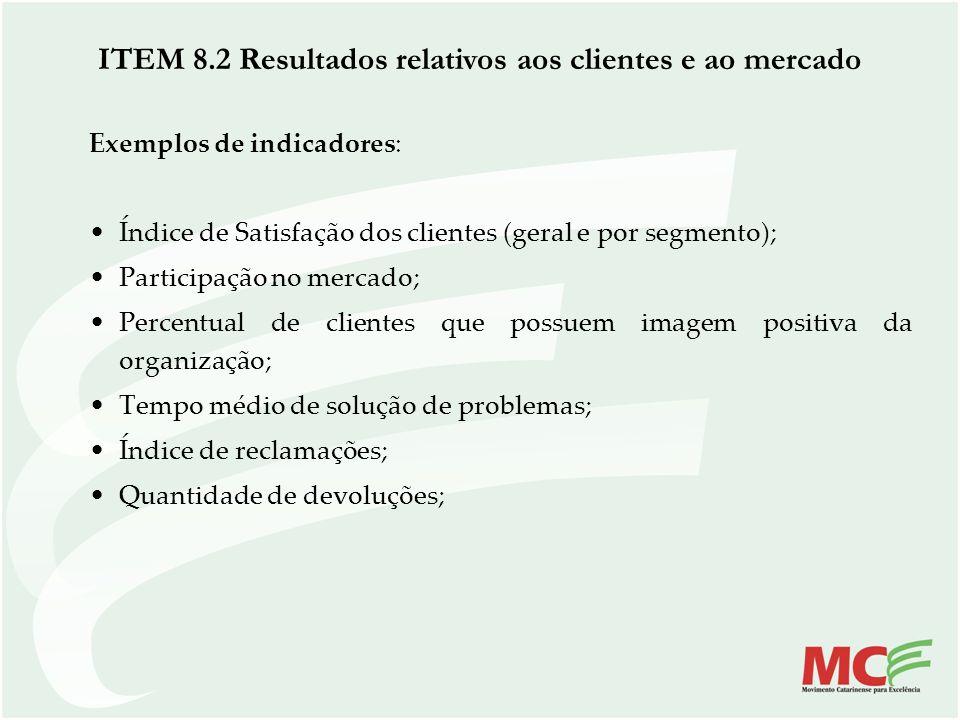 ITEM 8.2 Resultados relativos aos clientes e ao mercado Exemplos de indicadores: Índice de Satisfação dos clientes (geral e por segmento); Participaçã