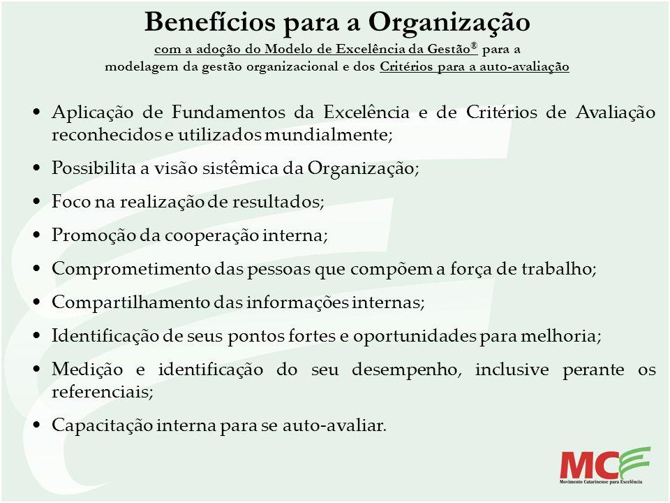 Benefícios para a Organização com a adoção do Modelo de Excelência da Gestão ® para a modelagem da gestão organizacional e dos Critérios para a auto-a