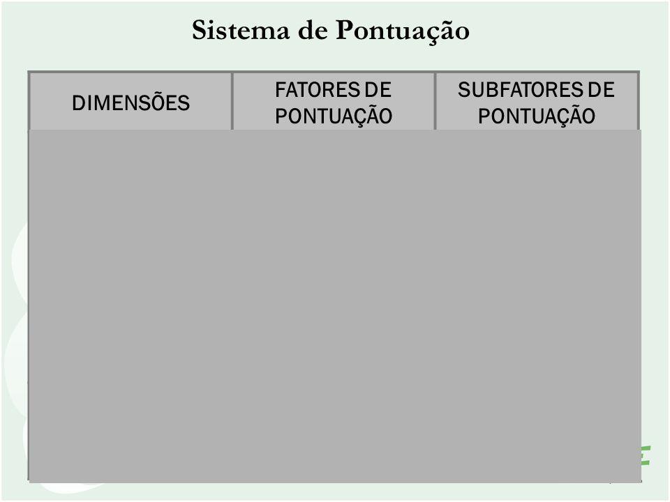 Sistema de Pontuação DIMENSÕES FATORES DE PONTUAÇÃO SUBFATORES DE PONTUAÇÃO Processos Gerenciais Enfoque Adequação Proatividade Aplicação Disseminação