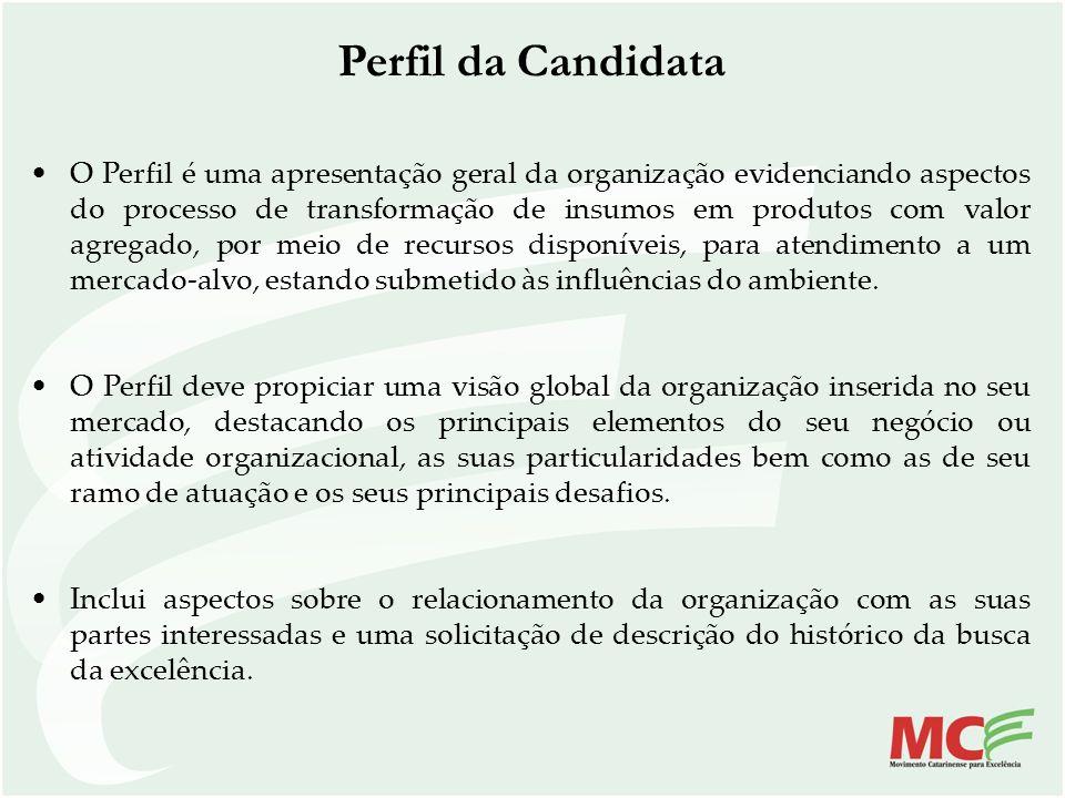 Perfil da Candidata O Perfil é uma apresentação geral da organização evidenciando aspectos do processo de transformação de insumos em produtos com val