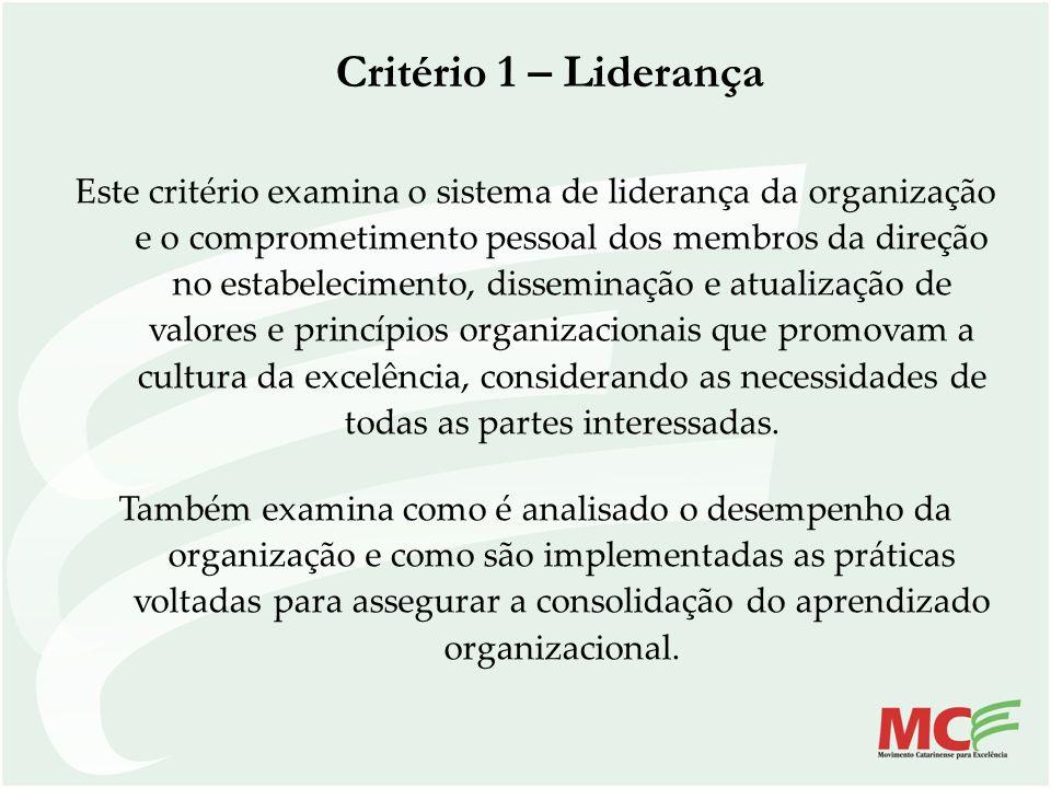 Critério 1 – Liderança Este critério examina o sistema de liderança da organização e o comprometimento pessoal dos membros da direção no estabelecimen