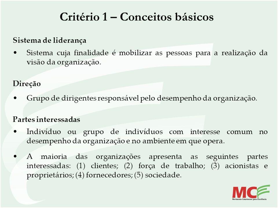 Critério 1 – Conceitos básicos Sistema de liderança Sistema cuja finalidade é mobilizar as pessoas para a realização da visão da organização. Direção