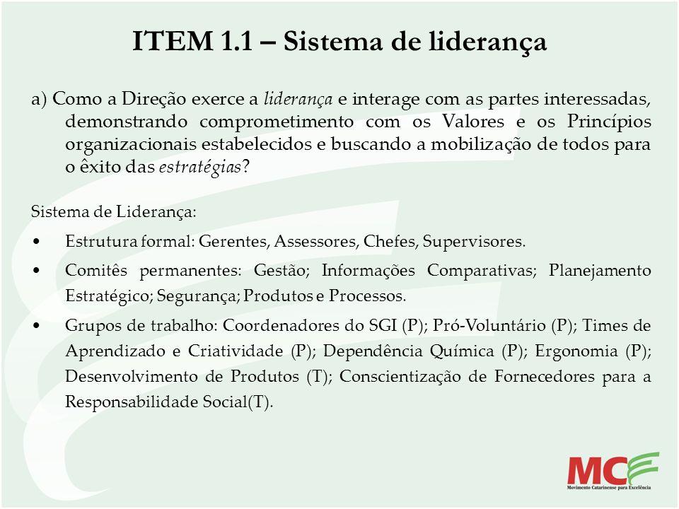 ITEM 1.1 – Sistema de liderança a) Como a Direção exerce a liderança e interage com as partes interessadas, demonstrando comprometimento com os Valore