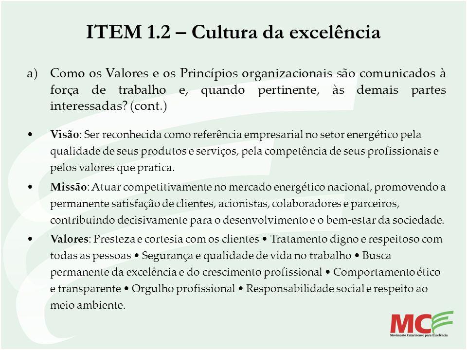 a)Como os Valores e os Princípios organizacionais são comunicados à força de trabalho e, quando pertinente, às demais partes interessadas? (cont.) Vis