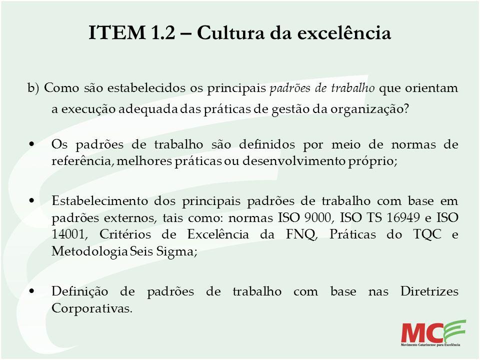 b) Como são estabelecidos os principais padrões de trabalho que orientam a execução adequada das práticas de gestão da organização? Os padrões de trab