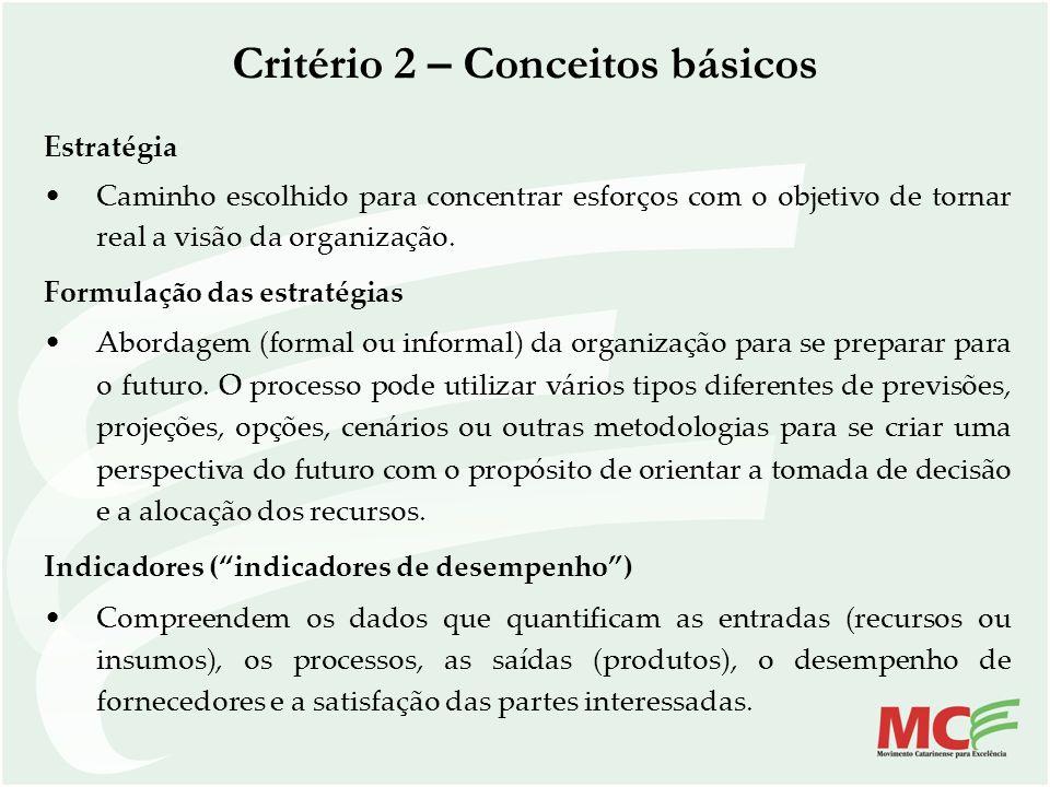 Critério 2 – Conceitos básicos Estratégia Caminho escolhido para concentrar esforços com o objetivo de tornar real a visão da organização. Formulação