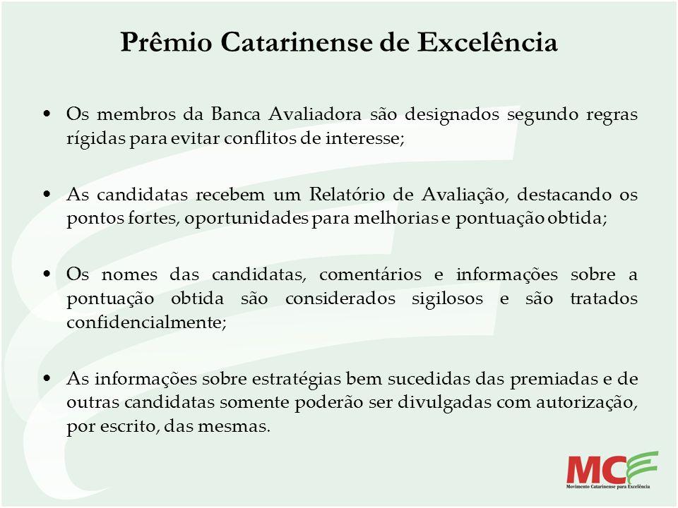 Os membros da Banca Avaliadora são designados segundo regras rígidas para evitar conflitos de interesse; As candidatas recebem um Relatório de Avaliaç