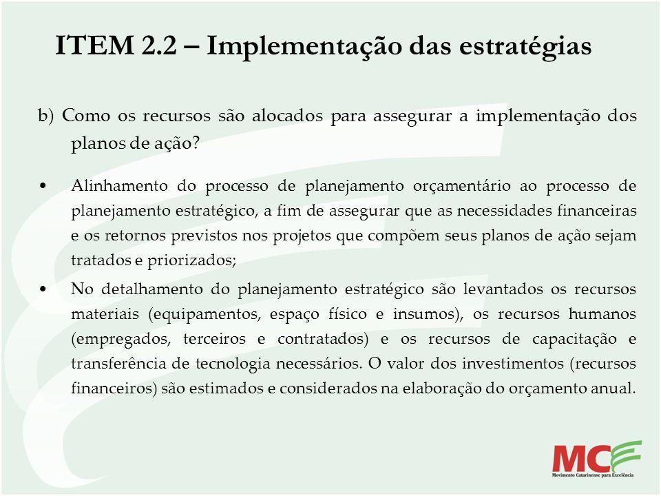 b) Como os recursos são alocados para assegurar a implementação dos planos de ação? Alinhamento do processo de planejamento orçamentário ao processo d
