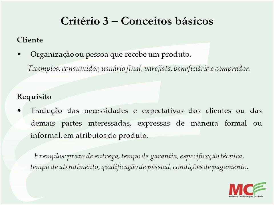 Critério 3 – Conceitos básicos Cliente Organização ou pessoa que recebe um produto. Exemplos: consumidor, usuário final, varejista, beneficiário e com