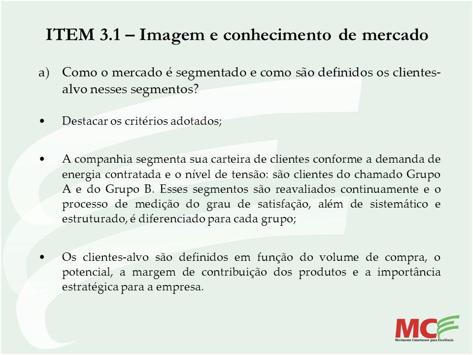 ITEM 3.1 – Imagem e conhecimento de mercado a)Como o mercado é segmentado e como são definidos os clientes- alvo nesses segmentos? Destacar os critéri