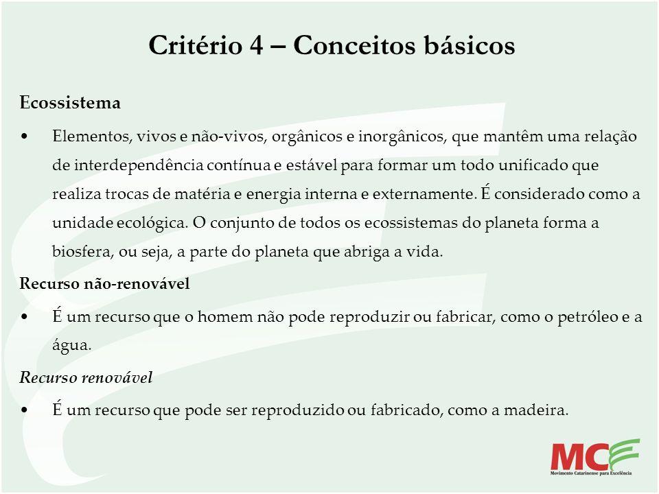 Critério 4 – Conceitos básicos Ecossistema Elementos, vivos e não-vivos, orgânicos e inorgânicos, que mantêm uma relação de interdependência contínua