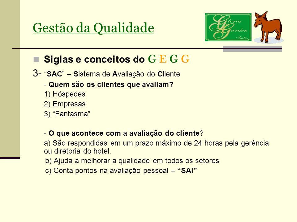 Gestão da Qualidade Siglas e conceitos do G E G G 3-SAC – Sistema de Avaliação do Cliente - Quem são os clientes que avaliam? 1) Hóspedes 2) Empresas